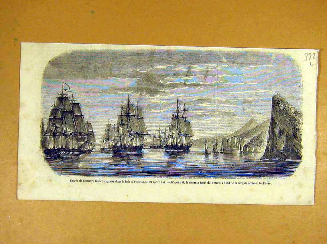 Print Avatcha Forte Frigate Squadron Navy French 1854 72Llil1 Old Original