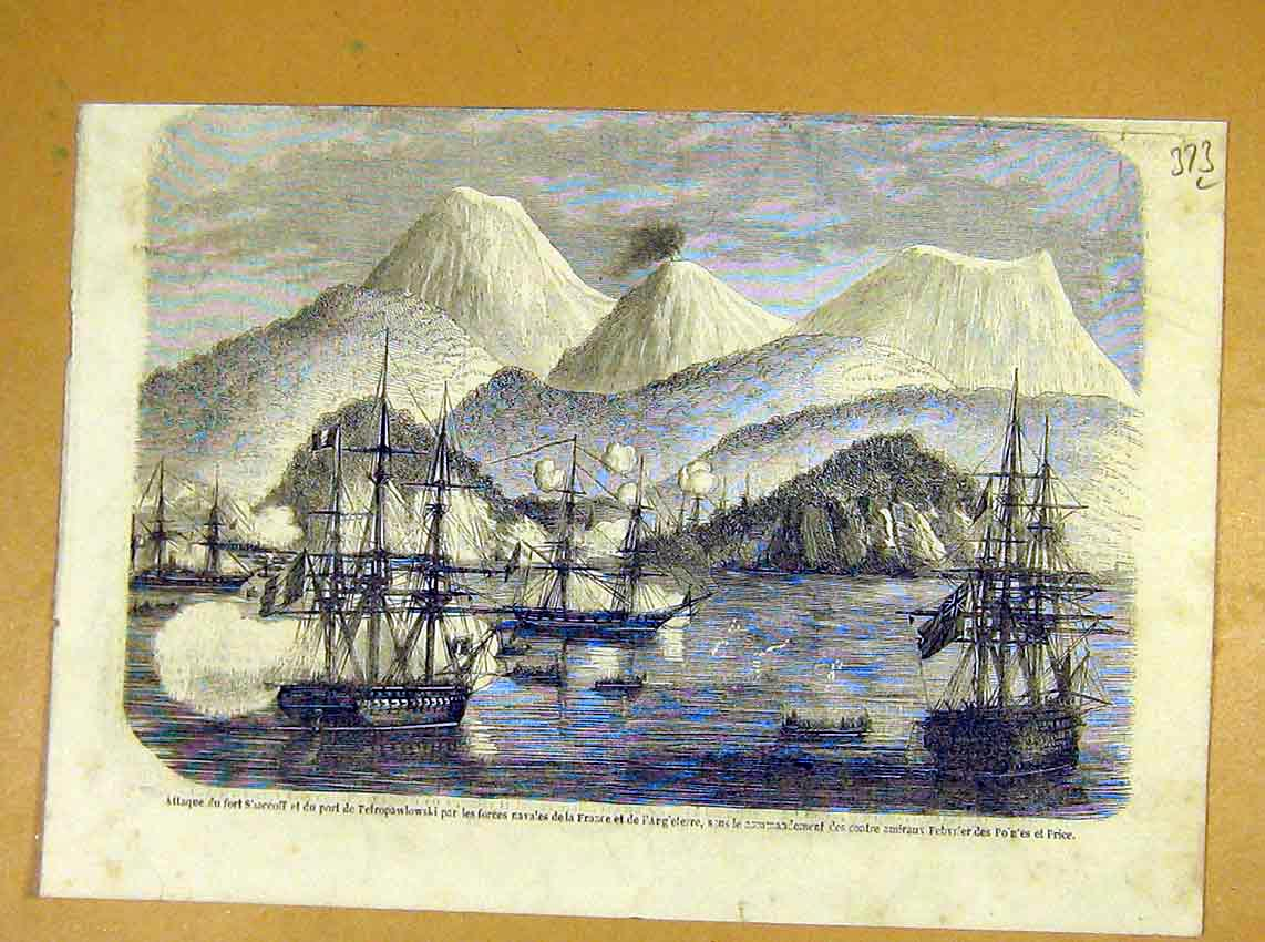 Print Shaccoff Attack Petropaulowski French Navy 1854 73Llil1 Old Original