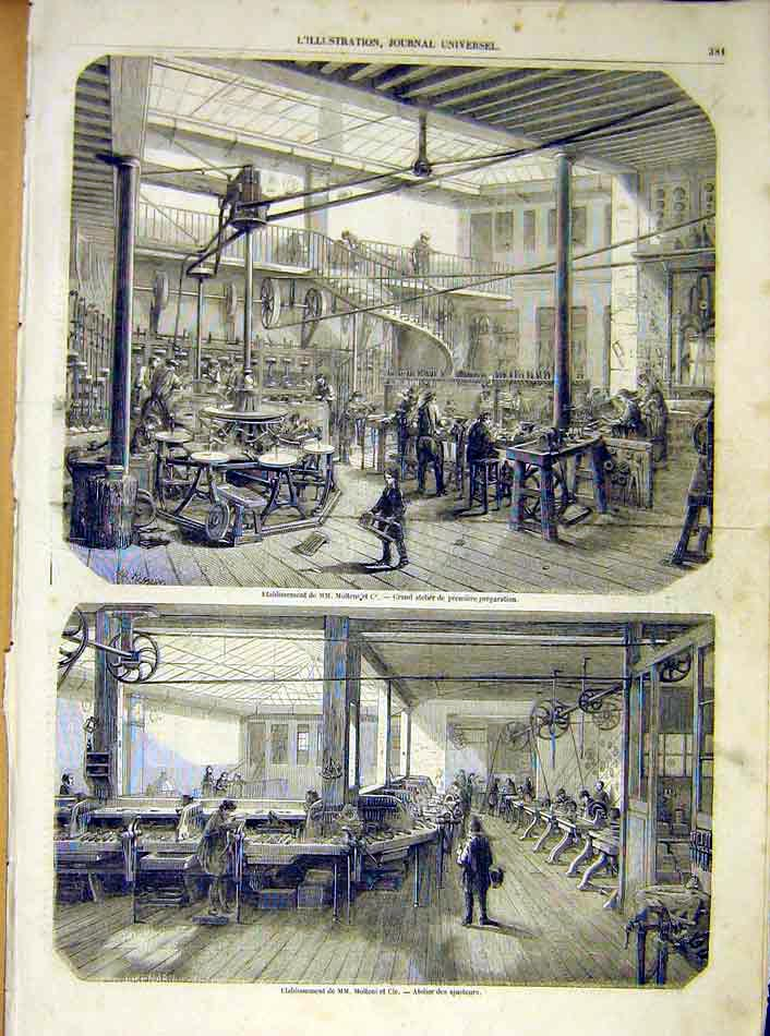 Print Molteni Company Factory Machines French 1854 81Lil1 Old Original