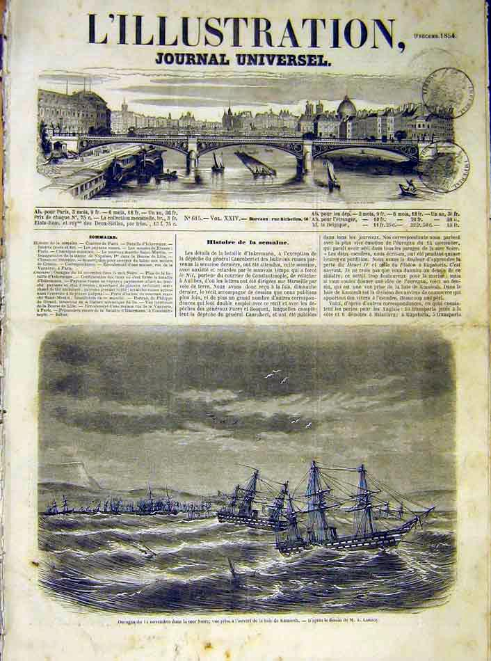 Print Ouragan Ships Black-Sea Kamiesh French 1854 86Lil1 Old Original