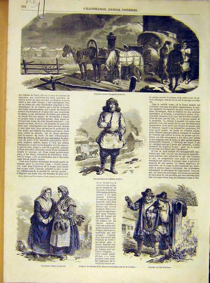 Print Peasants Russian Winter Invalids French 1854 92Alil1 Old Original