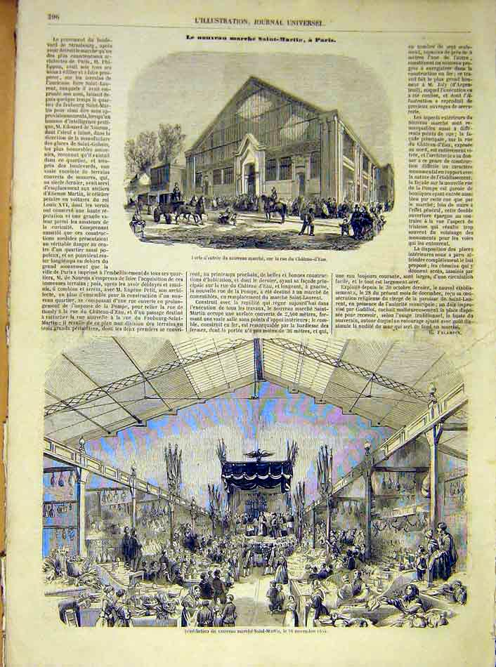 Print Castle Water Benediction Saint-Martin Religious 1854 96Lil1 Old Original