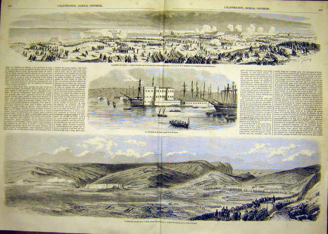 Print Saint-Paul Fort Sebastopol Crimea Balaklava 1854 07Tlil1 Old Original