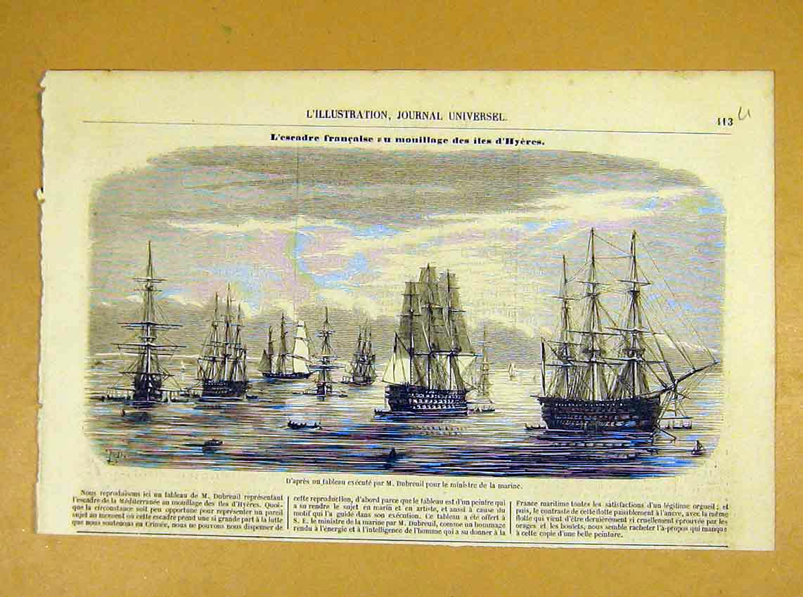 Print Ministry Marine Navy Ships Dubreuil French 1854 13Ulil1 Old Original