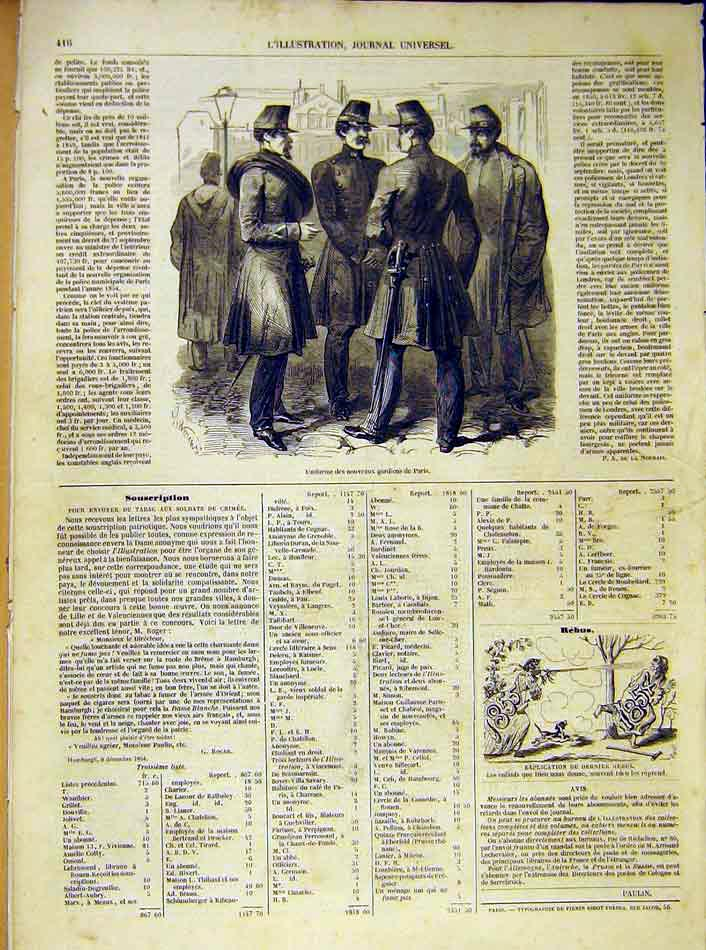 Print Uniform Paris Guards French 1854 France 16Lil1 Old Original