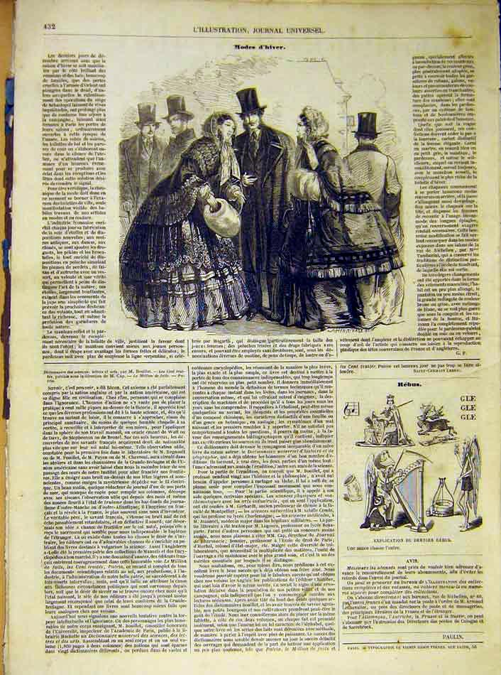Print Winter Ladies Fashion Paris French 1854 France 32Lil1 Old Original