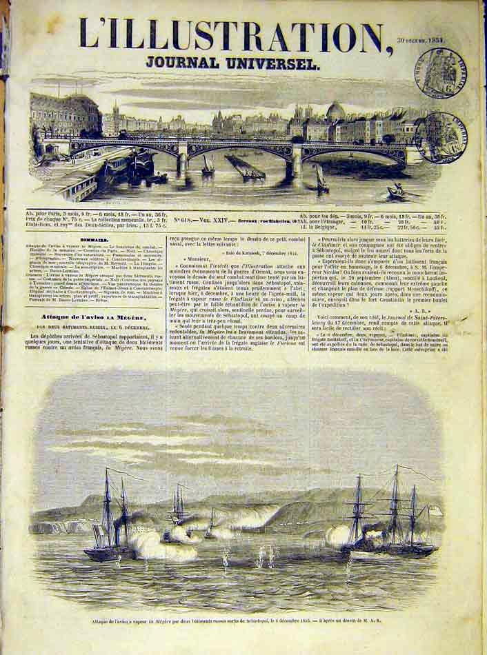 Print Attack Megere Ship Sebastopol Russian French 1854 34Lil1 Old Original