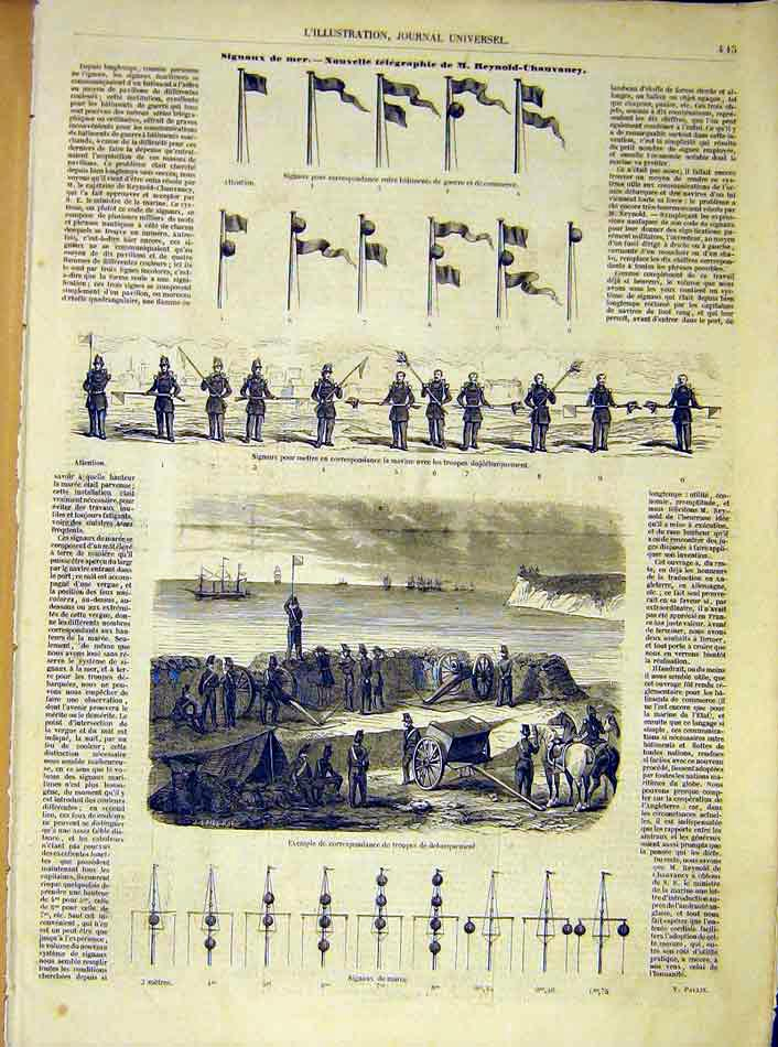 Print Signal Sea Reynold-Chauvaney Naval Navy Troops 1854 45Lil1 Old Original