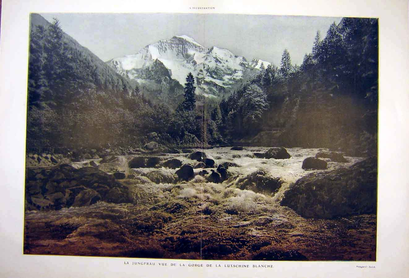 Print Lutschine Jungfrau Aletsch Lauterbrunnen Mountain 1904 08Tlil1 Old Original