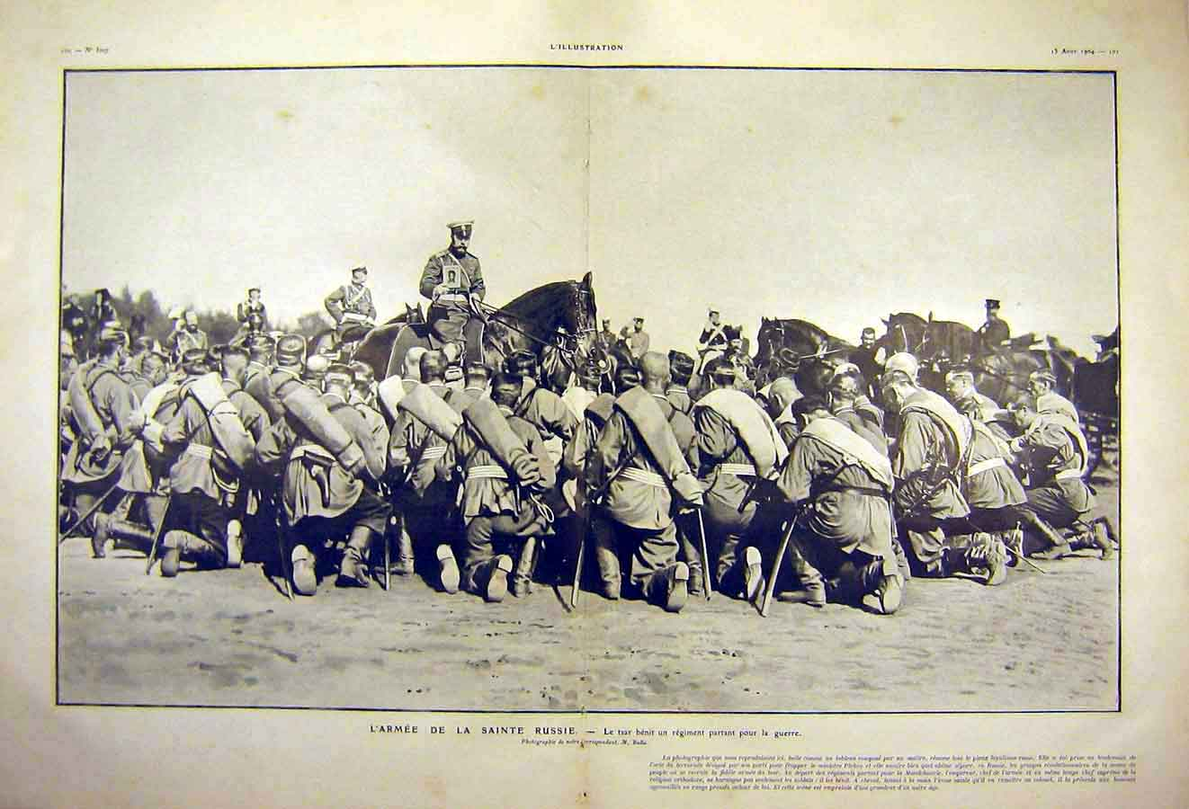 Print Russian Army Regiment Troops French 1904 War 11Tlil1 Old Original