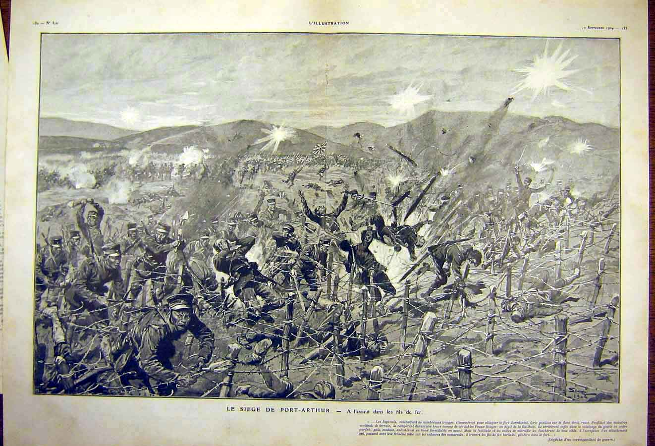 Print Seige Port-Arthur War Battle Japanese French 1904 13Tlil1 Old Original