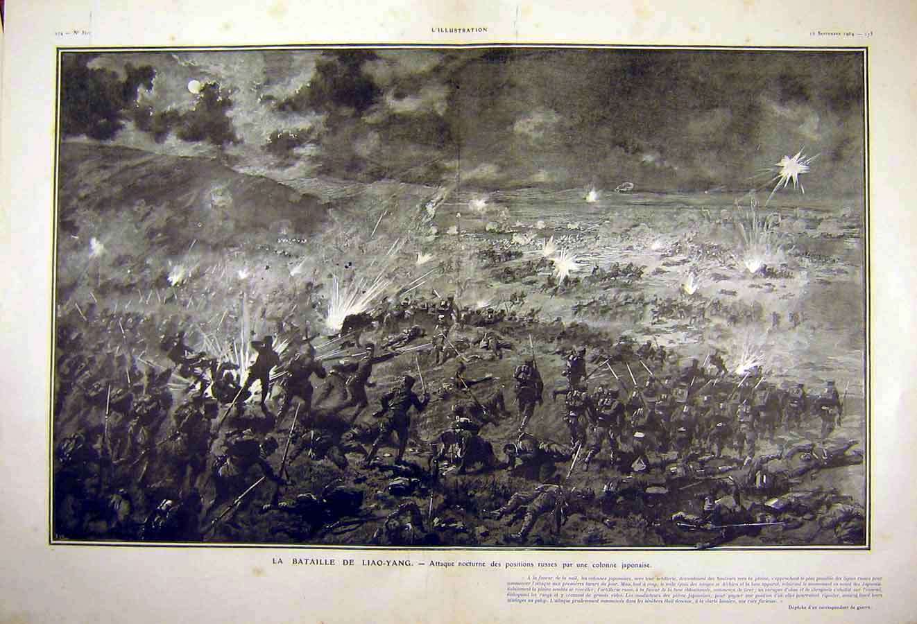 Print Battle War Liao-Yang Japanese Russian French 1904 14Tlil1 Old Original