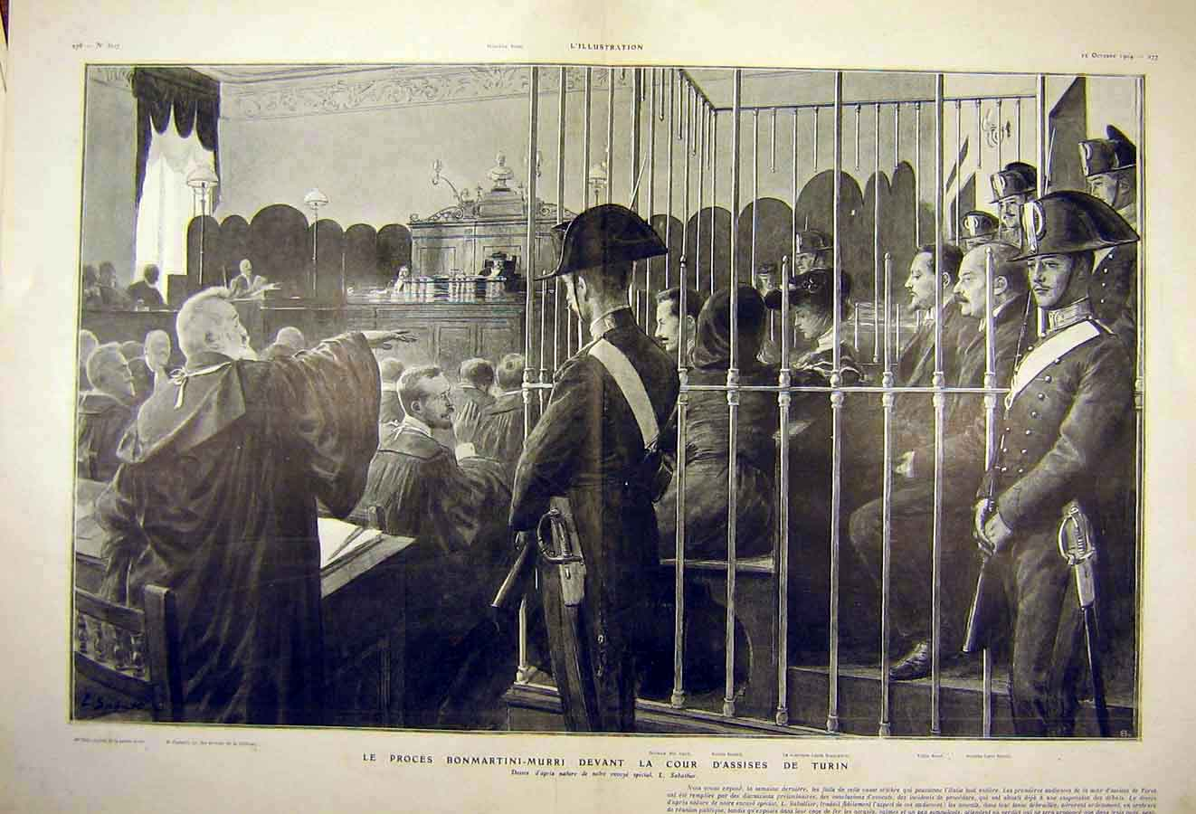 Print Trial Bonmartini-Murri Assises Turin French 1904 23Tlil1 Old Original