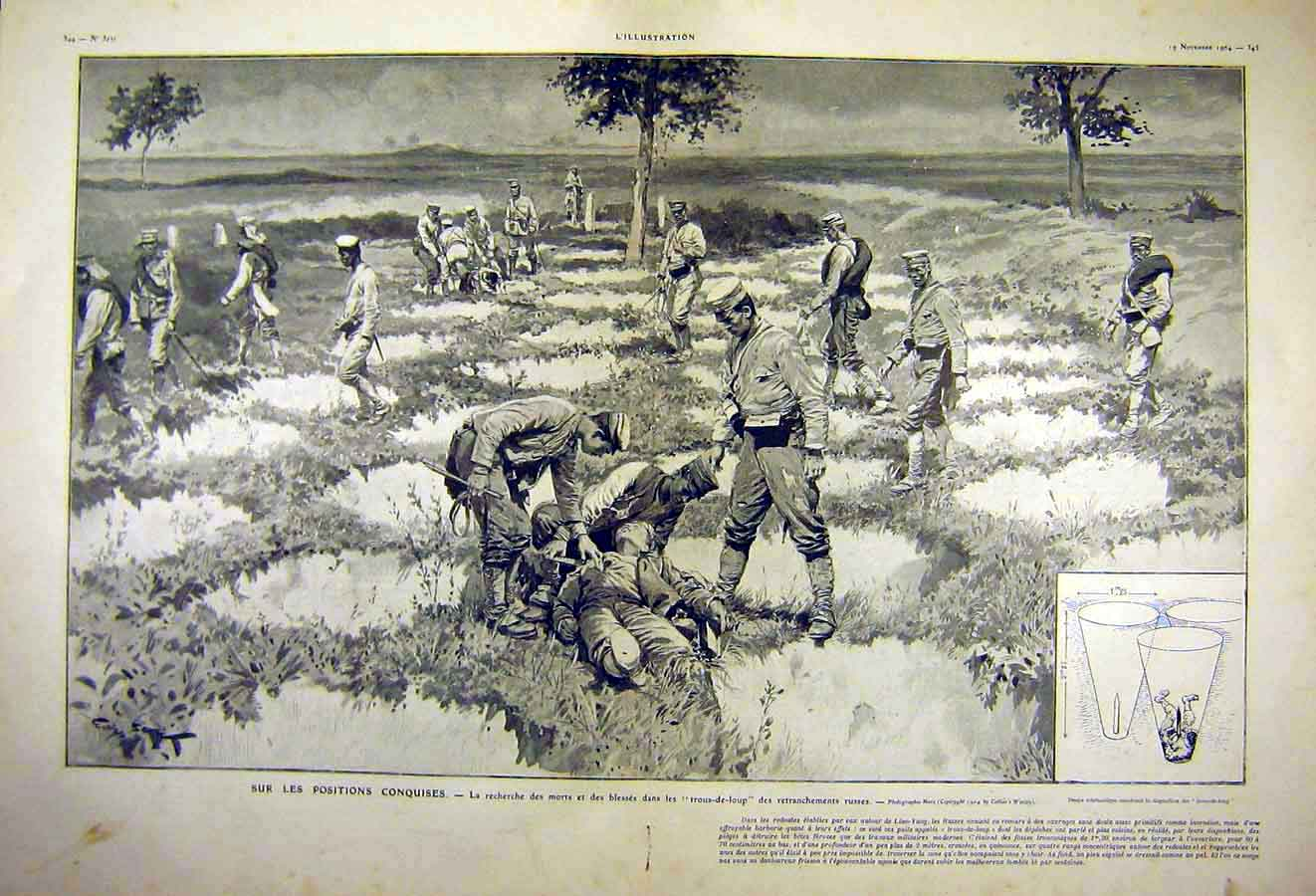 Print Trous-De-Loup War Russian Liao-Yang French 1904 24Tlil1 Old Original