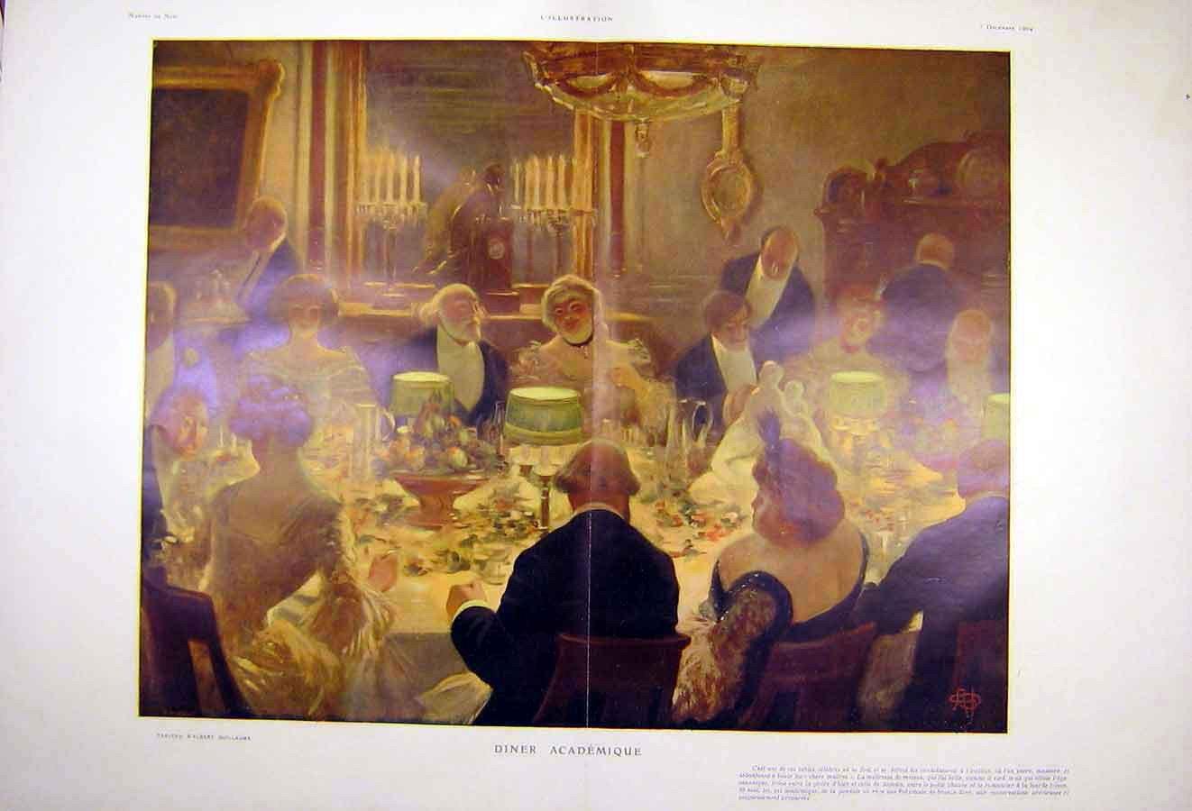 Print Academy Dinner Guillaume French 1904 People Art 27Tlil1 Old Original