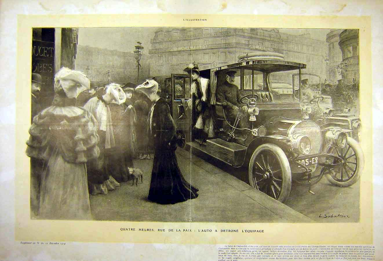 Print Automobile Motor-Car Ladies French 1904 29Tlil1 Old Original