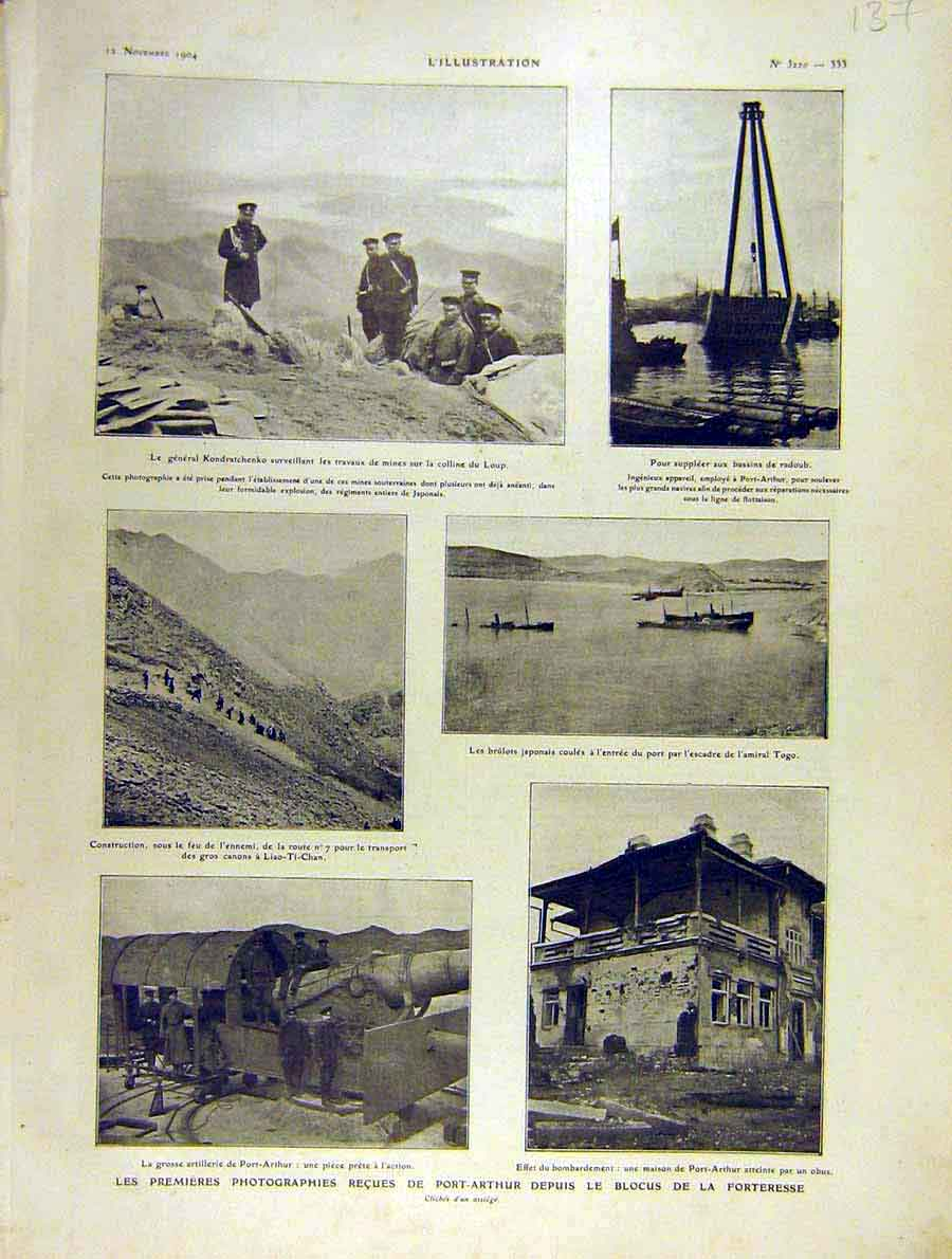 Print Port-Arthur War Fortress Liao-Ti-Chan 1904 37Lil1 Old Original