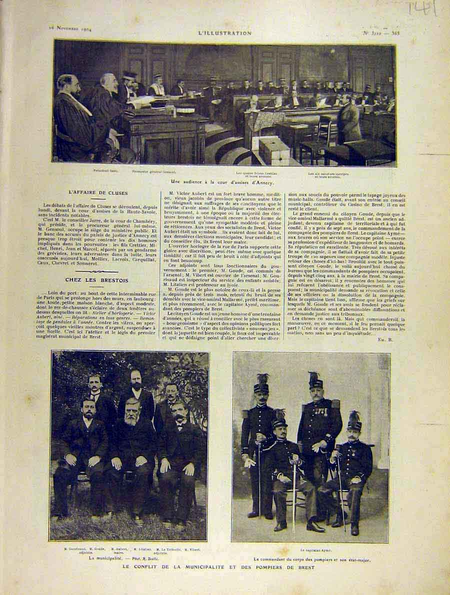Print Court Annecy Brest Pompiers Aubert 1904 French 41Lil1 Old Original