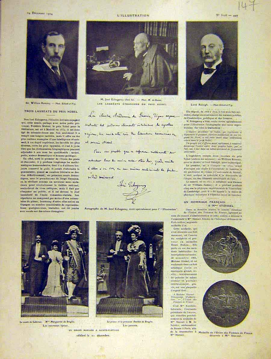 Print Nobel Prize Amedee Prince Marriage French 1904 47Lil1 Old Original