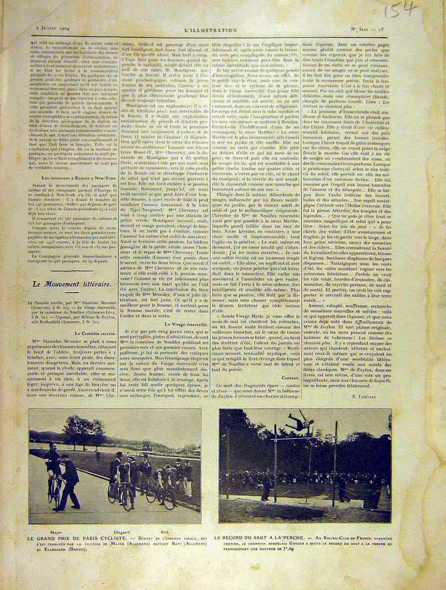 Print Paris Cyclist Athletics High-Jump French 1904 54Lil1 Old Original