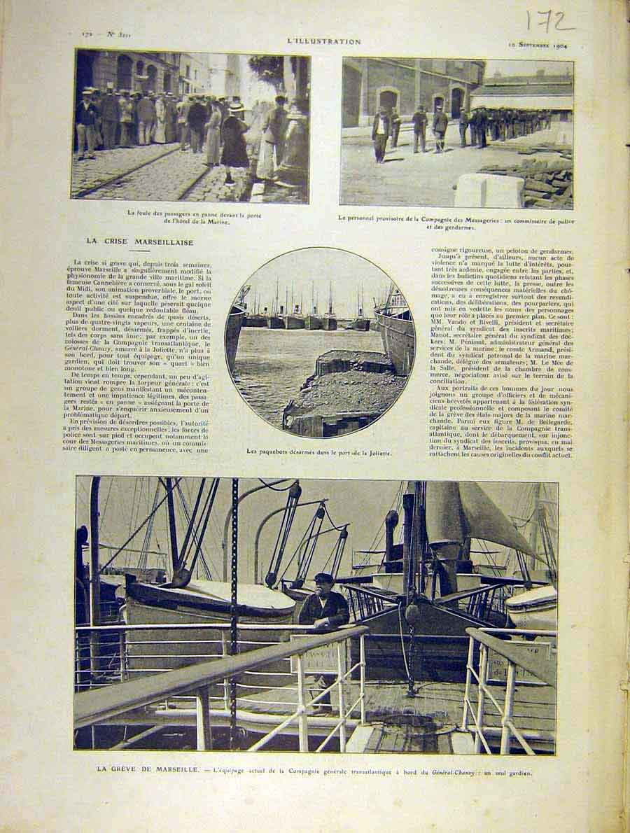 Print Marseilles Crisis Police Compangnie French 1904 72Lil1 Old Original