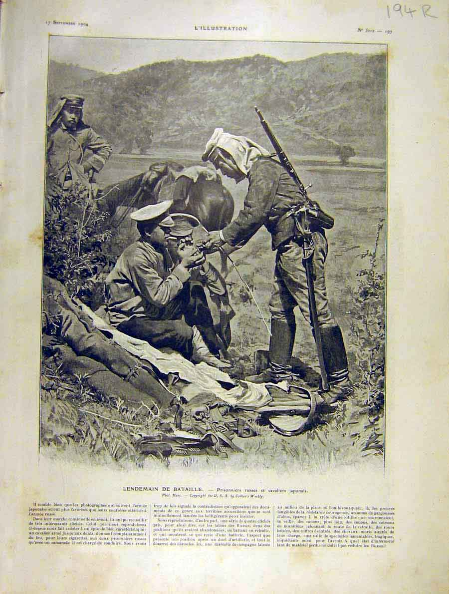 Print Russian Prisoners Japanese Moukden War 1904 94Rlil1 Old Original