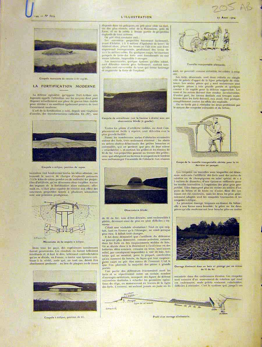 Print Coupole Parapet Fence Magazine War Battle 1904 05Alil1 Old Original