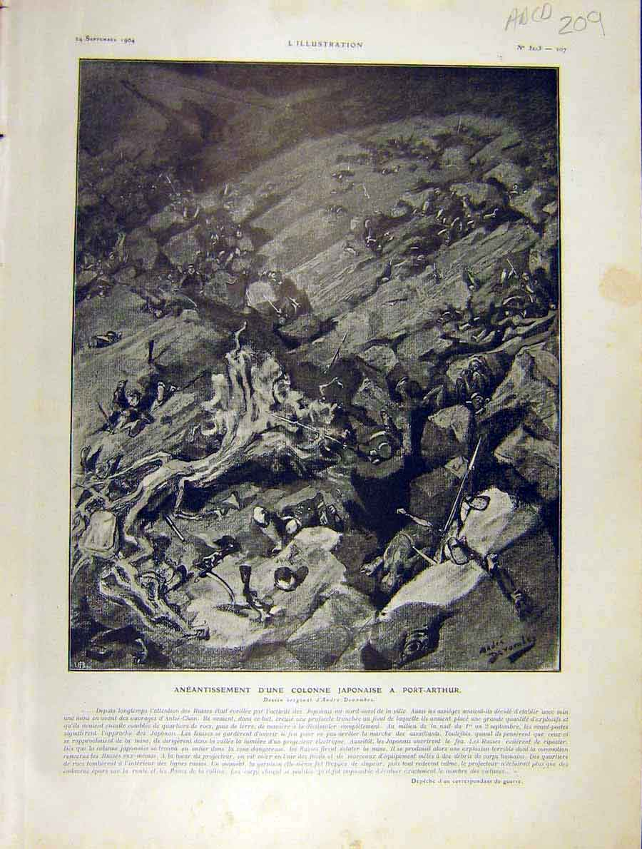 Print War Japanese-Russian Battle Moukden Manchouri 1904 09Alil1 Old Original