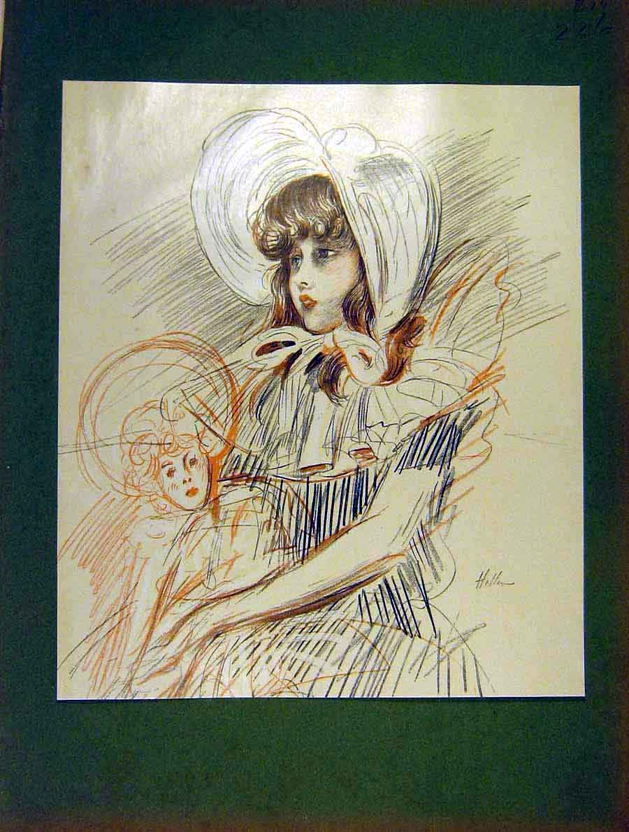 Print Young-Girl Pencil Sketch Child Doll Helleu 1904 26Lil1 Old Original