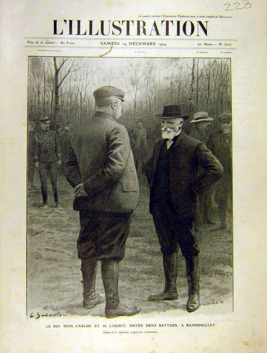 Print King Carlos Loubet Rambouillet French 1904 28Lil1 Old Original