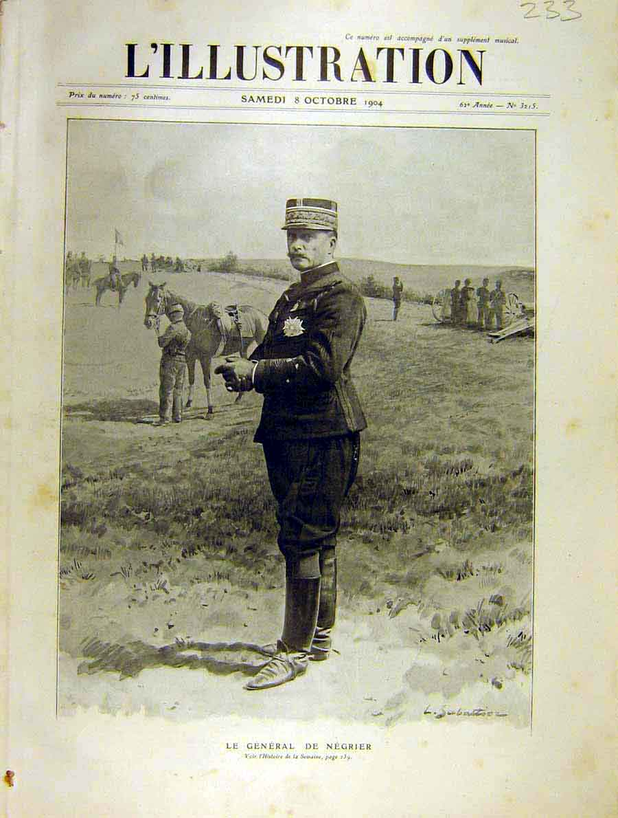 Print Portrait General Negrier French 1904 Military 33Lil1 Old Original
