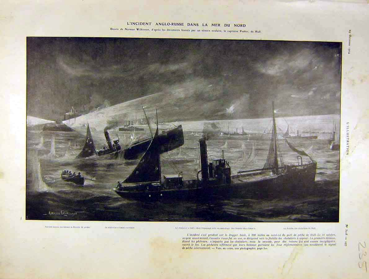Print English-Russian Black-Sea Dogger French 1904 Ship 35Lil1 Old Original
