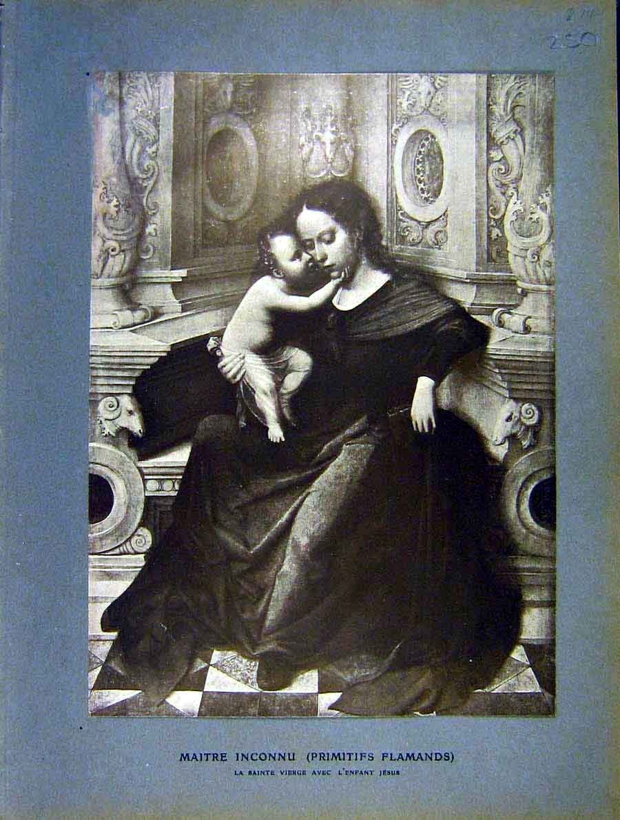 Print Jesus Child Virgin-Mary Fine Art Religious 1904 50Lil1 Old Original
