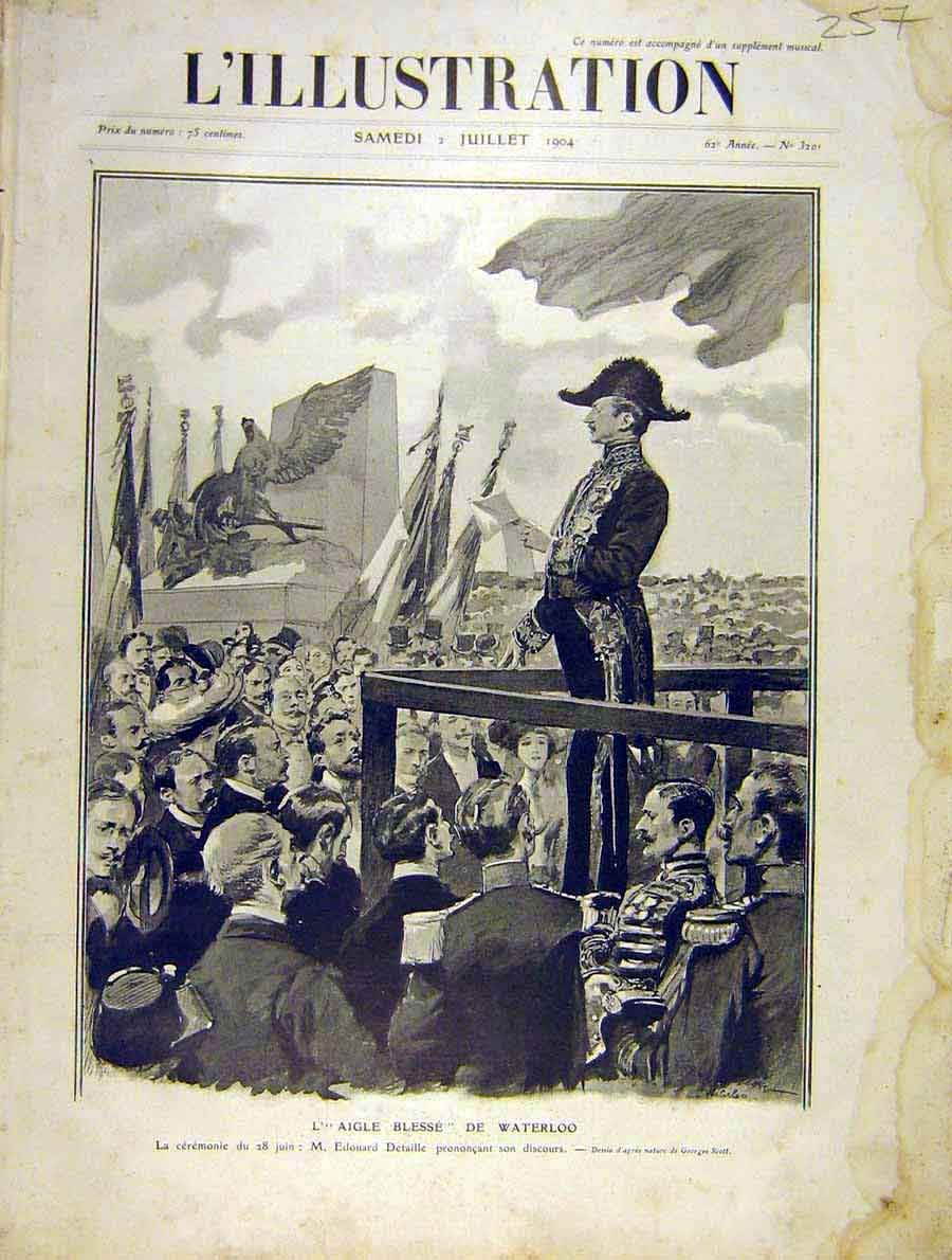 Print Waterloo Detaille Ceremony French 1904 57Lil1 Old Original