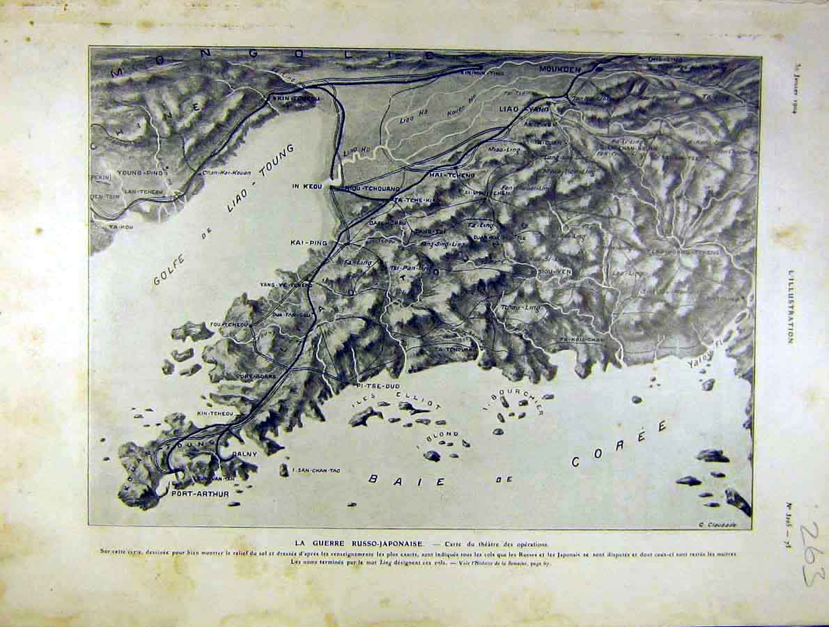 Print War Russian-Japanese Map Port-Arthur French 1904 63Lil1 Old Original