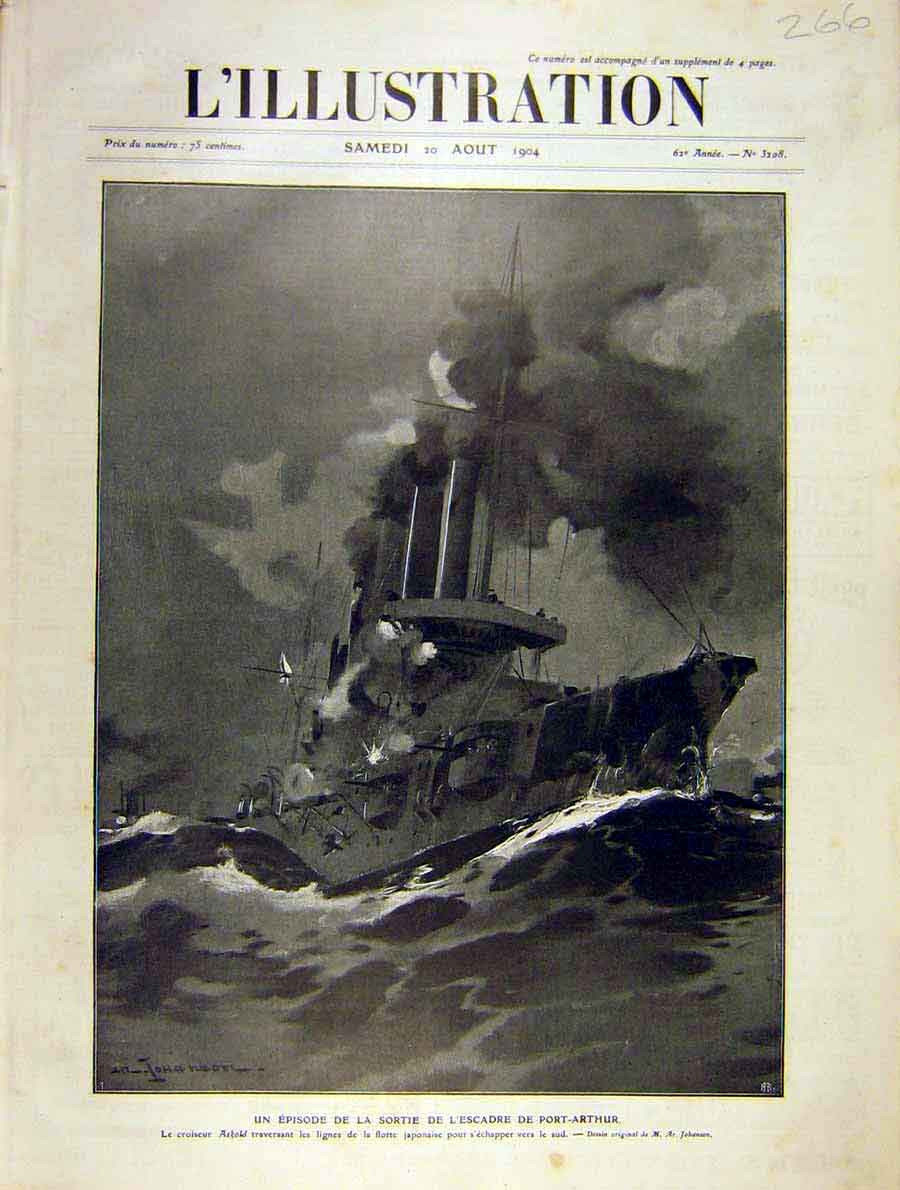 Print Port-Arthur Navy Askjapanese Ship French 1904 66Lil1 Old Original