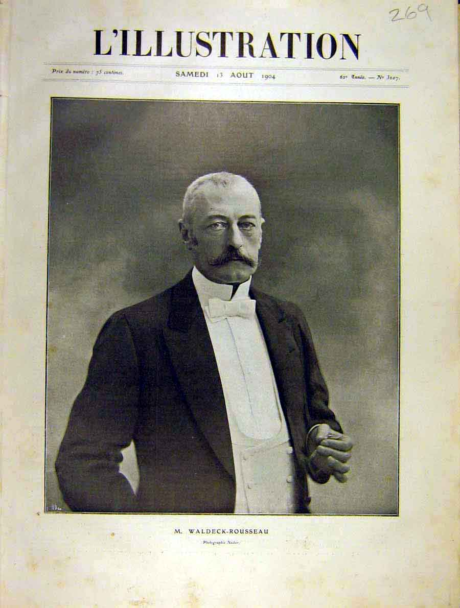 Print Portrait Waldeck-Rousseau French 1904 69Lil1 Old Original