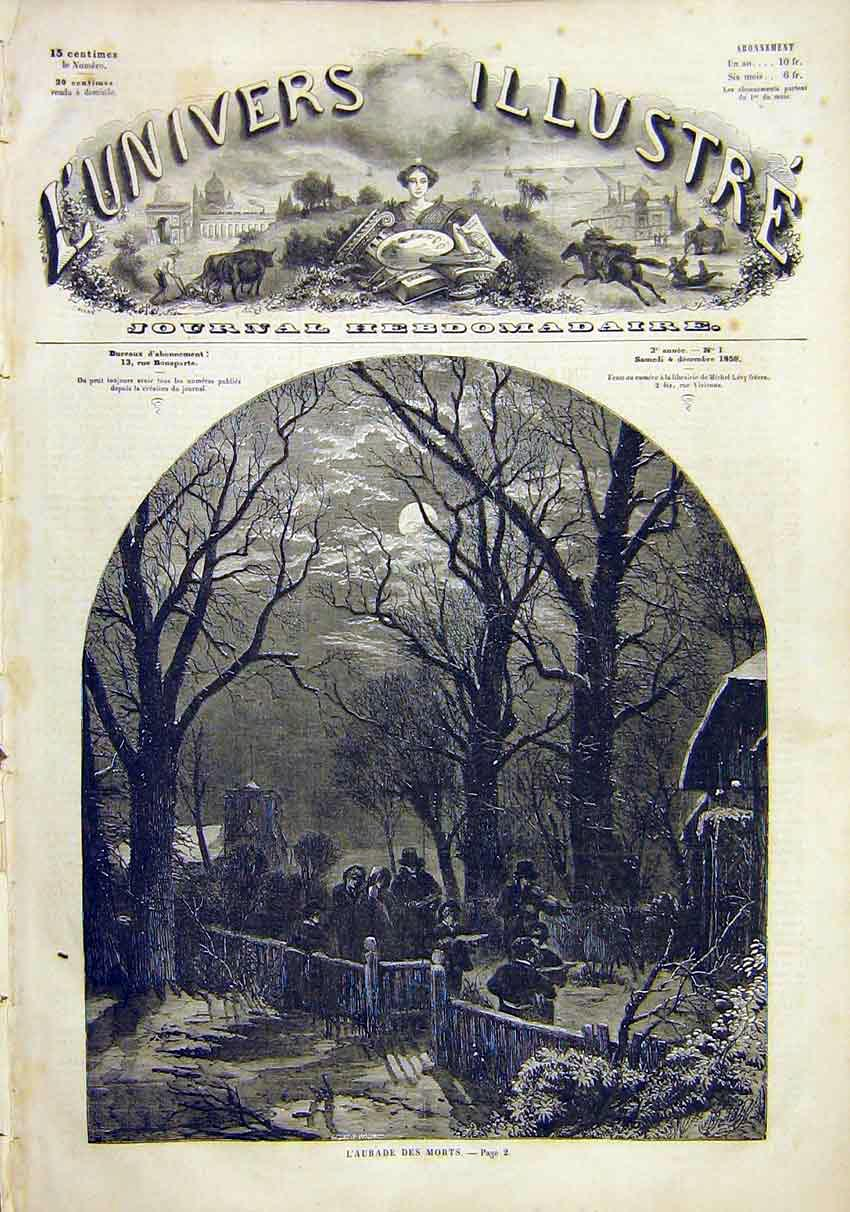 Print Funeral Wake Procession Death French 1859 02Lun0 Old Original