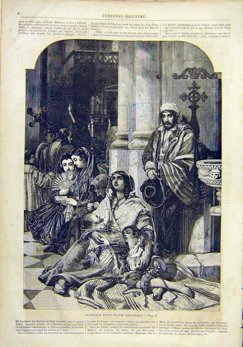 Print Spanish Church Spain People French 1859 04Lun0 Old Original