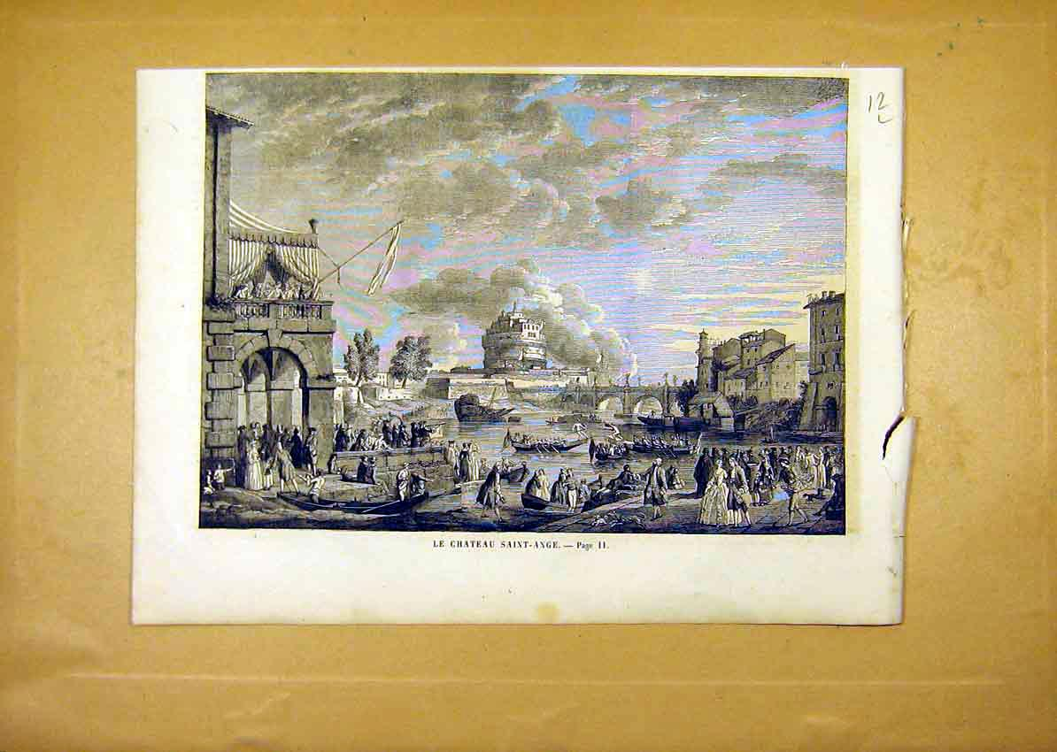 Print Castle Saint-Ange River People French 1859 12Llun0 Old Original