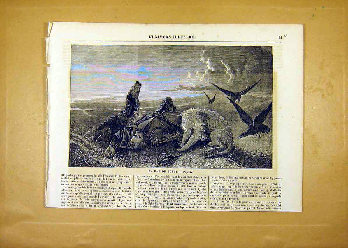 Print Dogs Friend Death Man Birds Fine Art French 1859 21Ulun0 Old Original