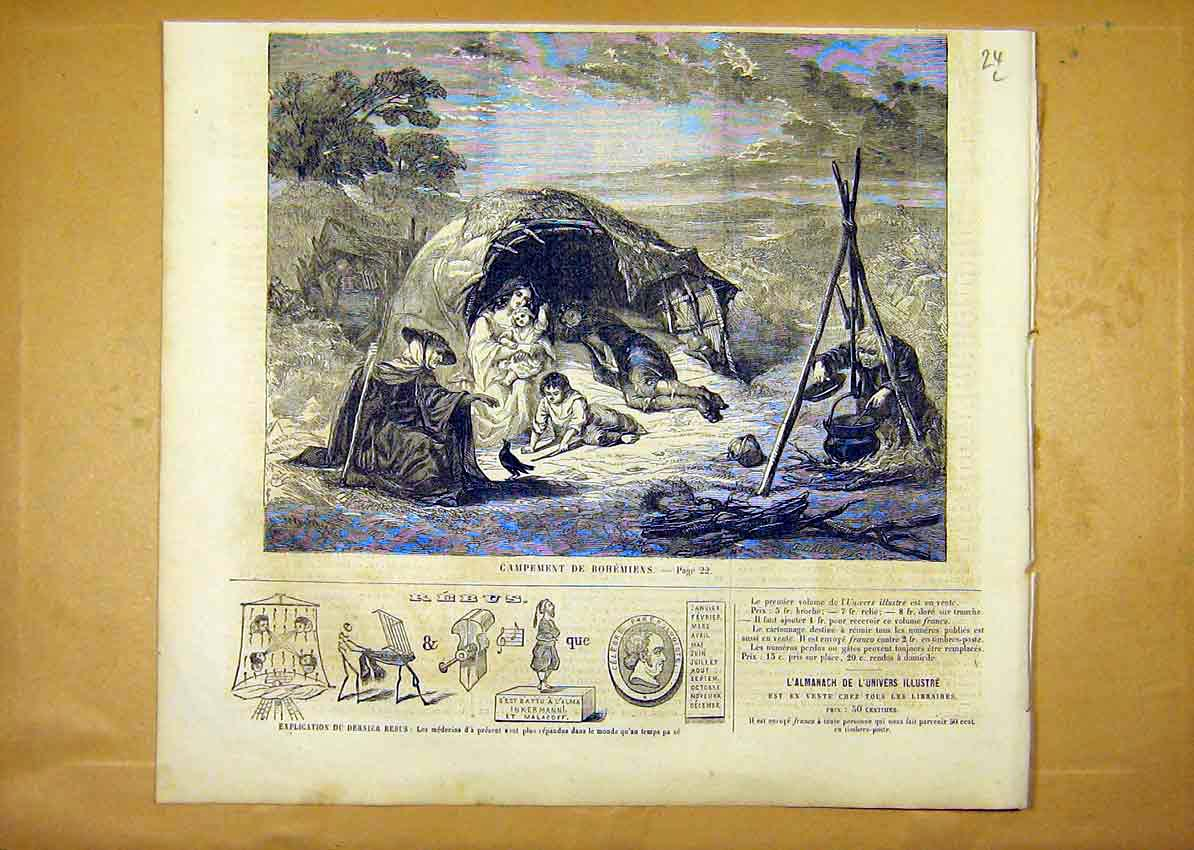 Print Bohemian Camp French 1859 24Llun0 Old Original