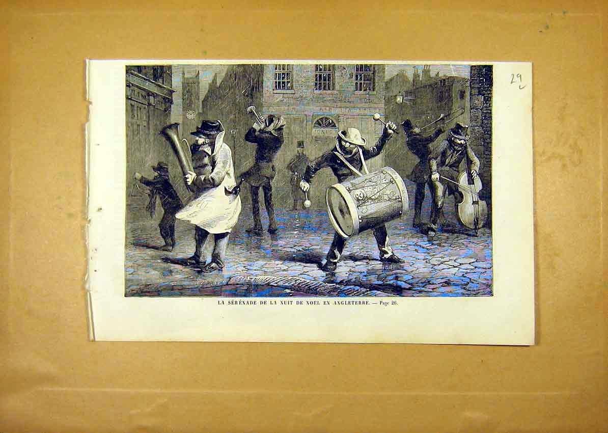 Print Serenade Christmas Night Germany French 1859 29Llun0 Old Original