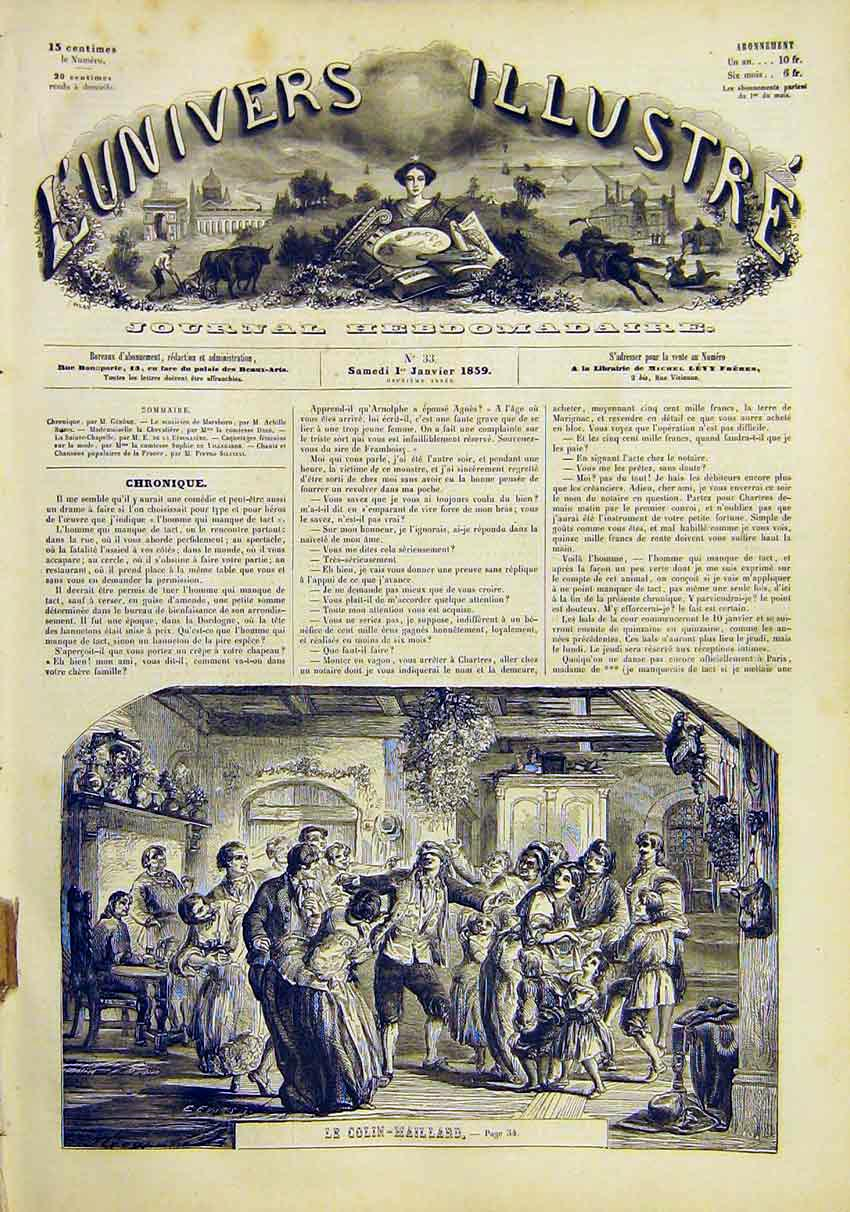 Print Blind-Man-Buff Game Party Colin Maillard 1859 34Lun0 Old Original