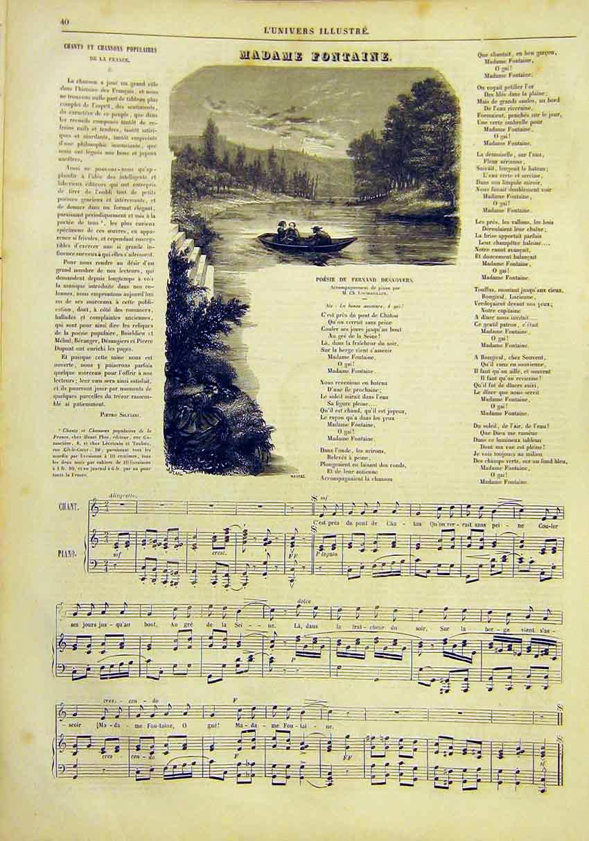 Print Song Music Madame Fontaine French 1859 40Lun0 Old Original