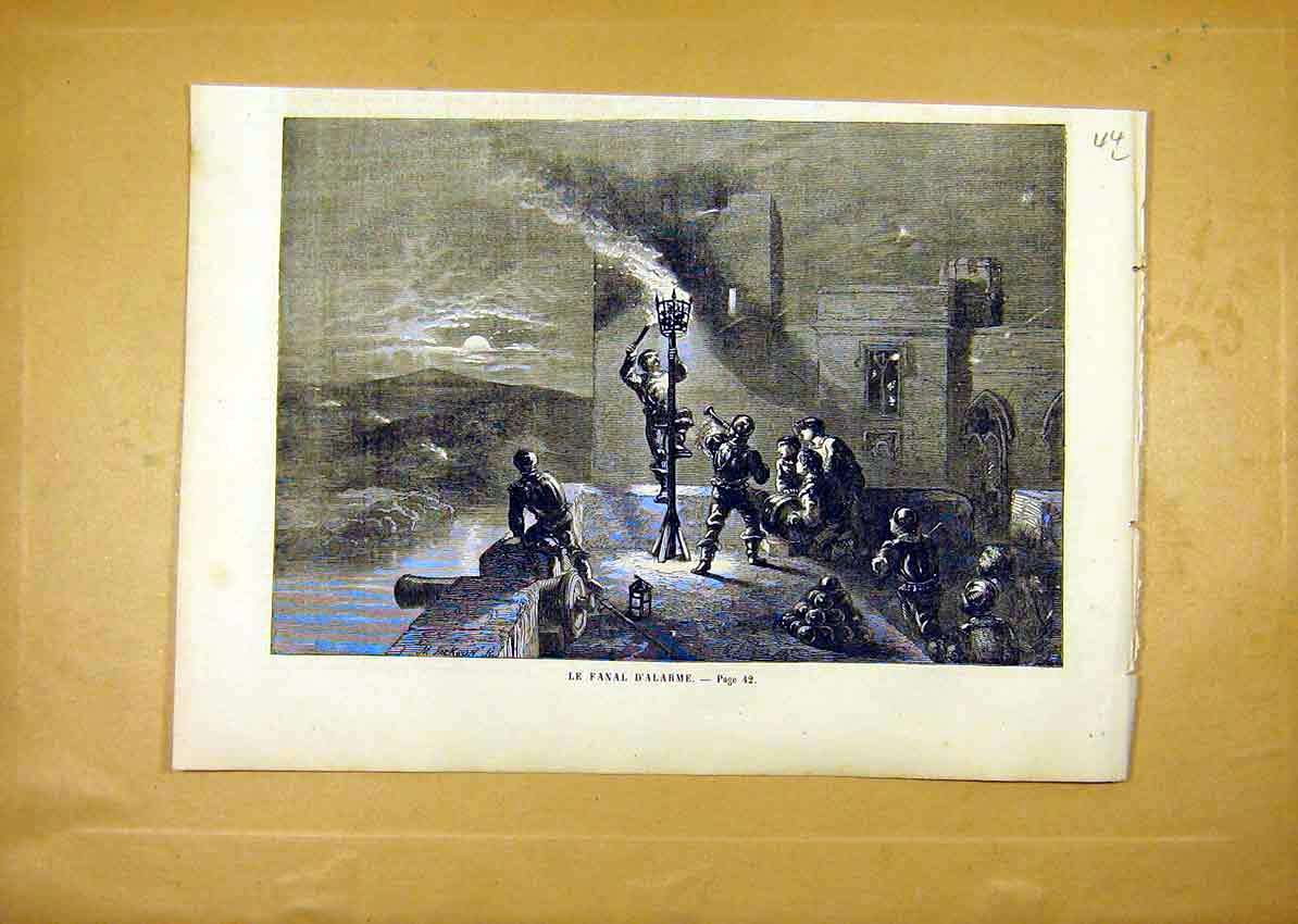 Print Alarm Fire Troops Soldiers War French 1859 44Llun0 Old Original