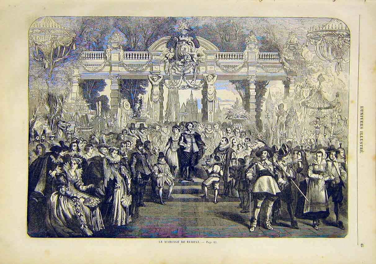 Print Reubens Marriage Celebrations French 1859 45Lun0 Old Original