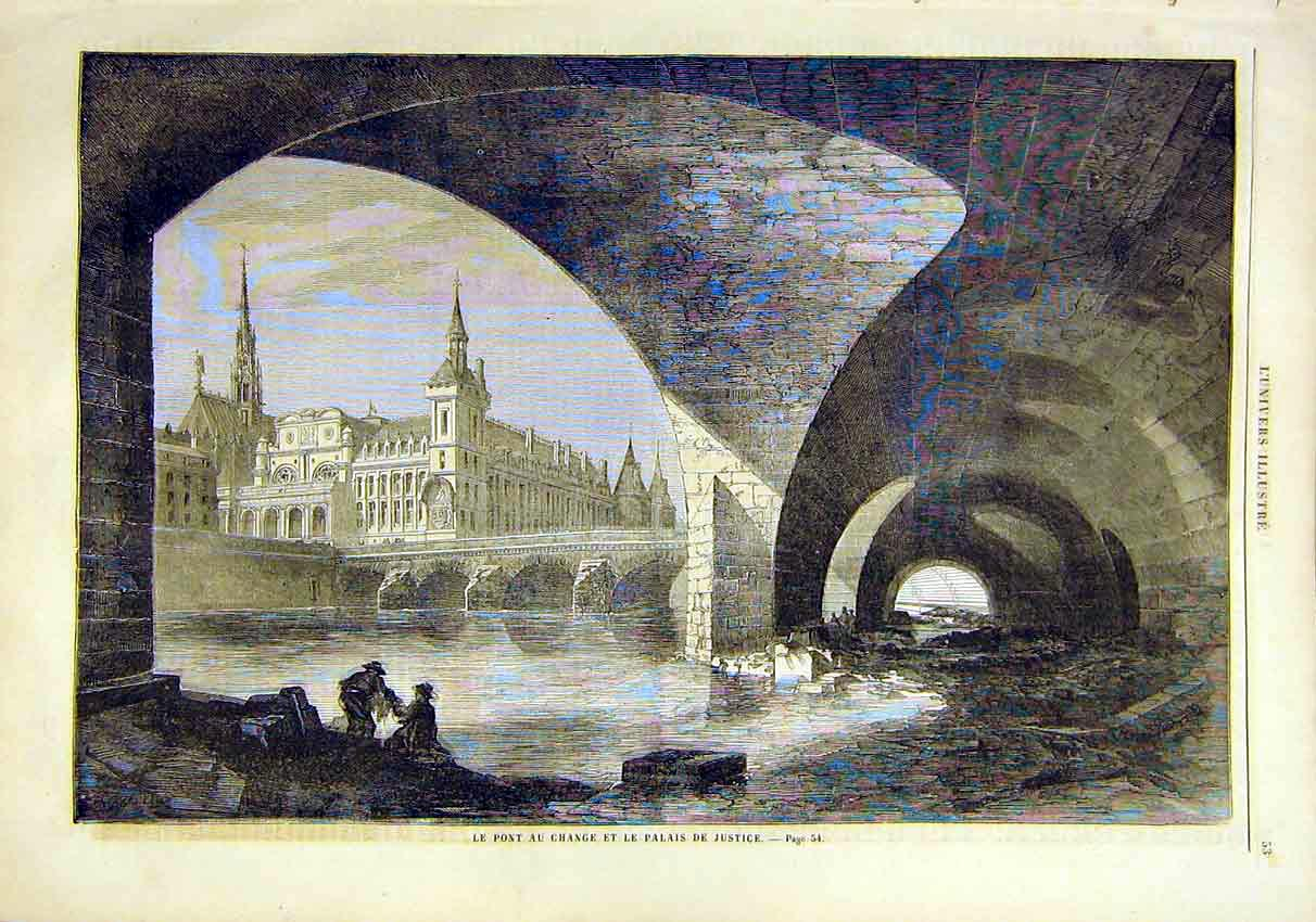 Print Bridge Change Palace Justice River French 1859 53Lun0 Old Original