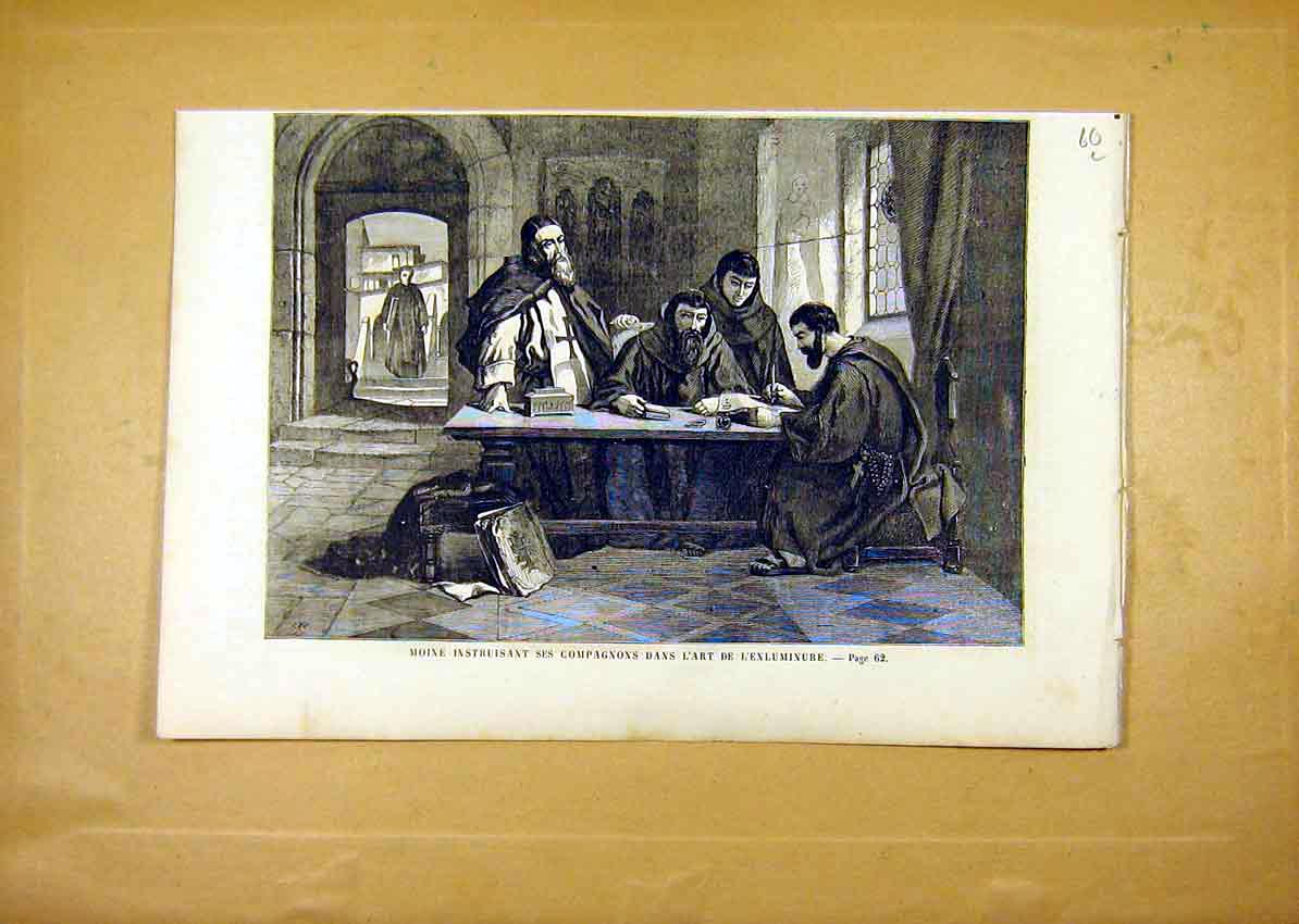 Print Monks Religious Writing French 1859 60Llun0 Old Original