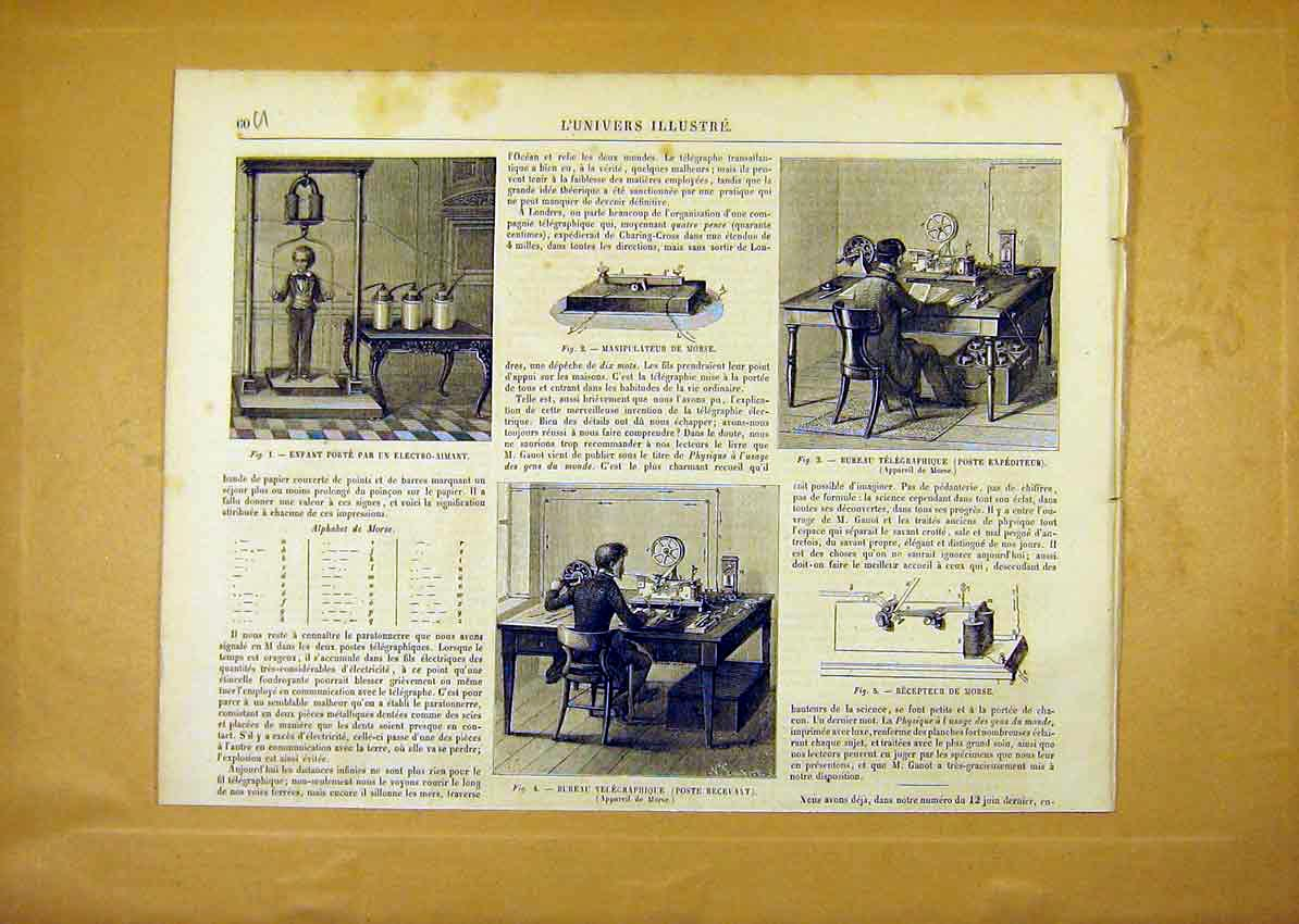 Print Telegraph Post-Office Morse French 1859 60Ulun0 Old Original